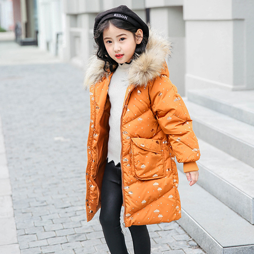 2018 children down jacket teenage girls long kids floral winter clothing -30 degree thick coat for 6 8 10 12 14 years купить в Москве 2019