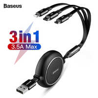 Baseus 3 in 1 Cavo USB Retrattile Per iPhone Xs Max Xr X 3in1 Veloce di Carico del Caricatore Micro USB di Tipo C Cavo Per Samsung Xiaomi