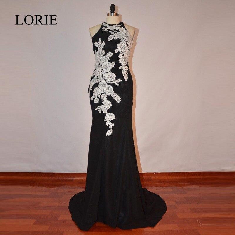 LORIE Black And White Evening Dress 2017 Vintage Lace Elegant Women Long Prom Dresses Mermaid Vestidos De Graduacion Party Gowns