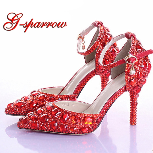 61e4d11cd7f Handmade Red Rhinestone Bridal Shoes Sexy Pointed Toe Bridesmaid Shoes Red  Crystals Women High Heel Prom Party Valentine Shoes