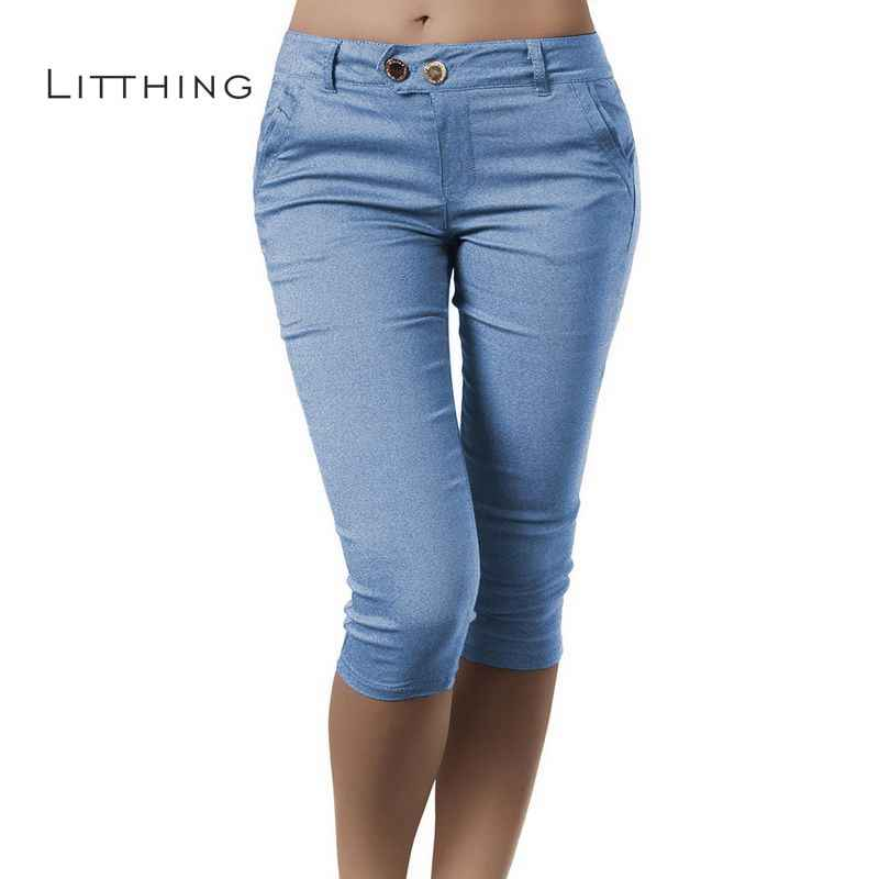 ba16899651a LITTHING 2018 Women Pencil Pants Fashion Skinny Solid Calf Length Casual  Stretch 3 4 Trousers
