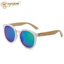 Retro round sunglasses white frame handmade bamboo sun glasses for men women unisex eyewear coating sunglass 1518