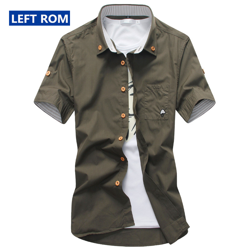 Left ROM New Summer Men's Fashion Boutique Embroidery Cotton Casual Short Sleeves Shirts Men Slim Contrast Color Casual Shirts