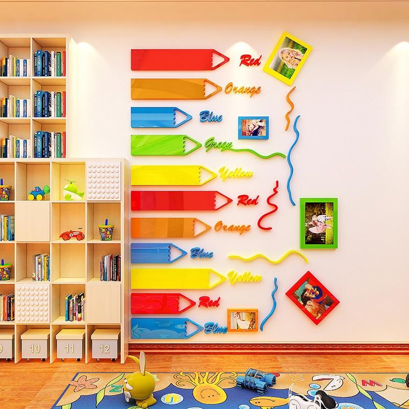 Creative INS crayon photo cadre acrylique TV toile de fond la personnalité 3D autocollants chambre chevet fond mur surface décoration