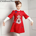 Menina Vestido de Festa Infantil 2017 Da Menina Da Criança Vestidos de Outono Uma Linha de Vestido de Princesa Bonito Impressão Roupa Dos Miúdos Vestido Da Menina De Natal 3-12