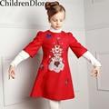 Vestido de Partido de la muchacha Infantil 2017 Niño Vestidos de Niña de Otoño Una Línea de Vestido de Princesa Vestido Lindo de Impresión Niños Ropa de La Muchacha de la Navidad 3-12