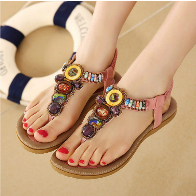 2017 new Hot Sale 2017 New Fashion Women Sandals Beaded Ladies Flip Flops Bohemia Woman Shoes Comfort Beach Summer Flat Sandals new fashion women sandals hot sale 2017 bohemia ankle strap flops summer flat shoes high quality woman gladiator comfort shoes