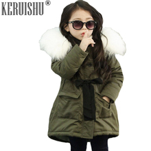 Keruishu Winter New Fashion Girls Parkas Children Coats Baby Fur Hat Warm Coat Kids Belt Hooded Plus Thick Velvet Long Outerwear baby girls denim jackets coat fur hooded parkas plus thick winter warm children outerwear long clothes kids clothing q2069