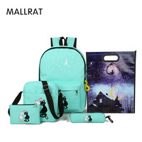 MALLRAT 6 Pcs Set Women Backpacks Cute Cat School Bags For Teenage Girls Printing Canvas Backpacks