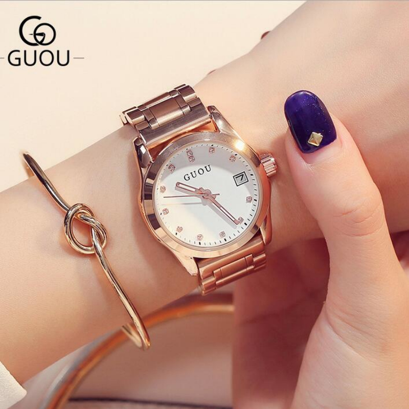 GUOU Luxury Diamond Watch Women Watches Rose Gold Ladies Watch Auto Date Women's Watches Leather Clock saat reloj mujer relogio sinobi ceramic watch women watches luxury women s watches week date ladies watch clock montre femme relogio feminino reloj mujer