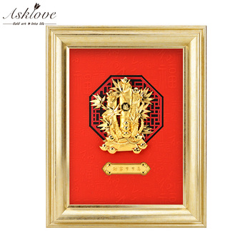 Feng shui Fortune Bamboo pictures 24K Gold foil painting poster Wall art Pictures Desktop Ornaments art Crafts Home Decor Gifts