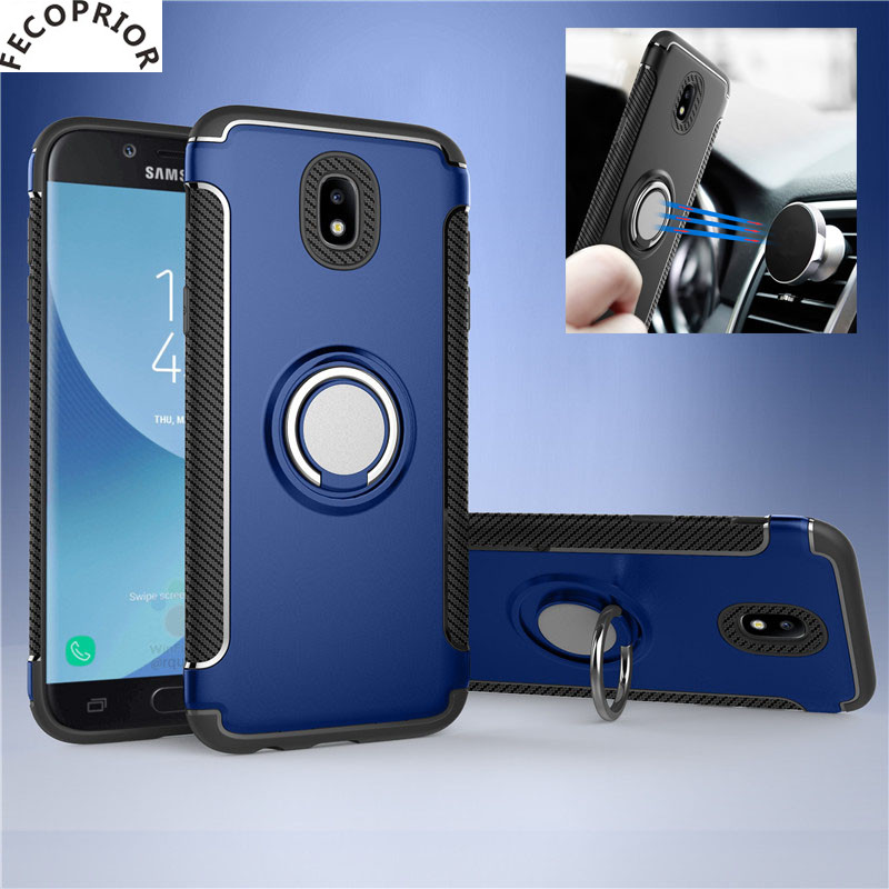 Galleria fotografica Fecoprior J330 For Samsung Galaxy J330 J3 2017 Case Car Holder Stand Back Cover Hard PC Silicon Ring Suction Bracket Celulars