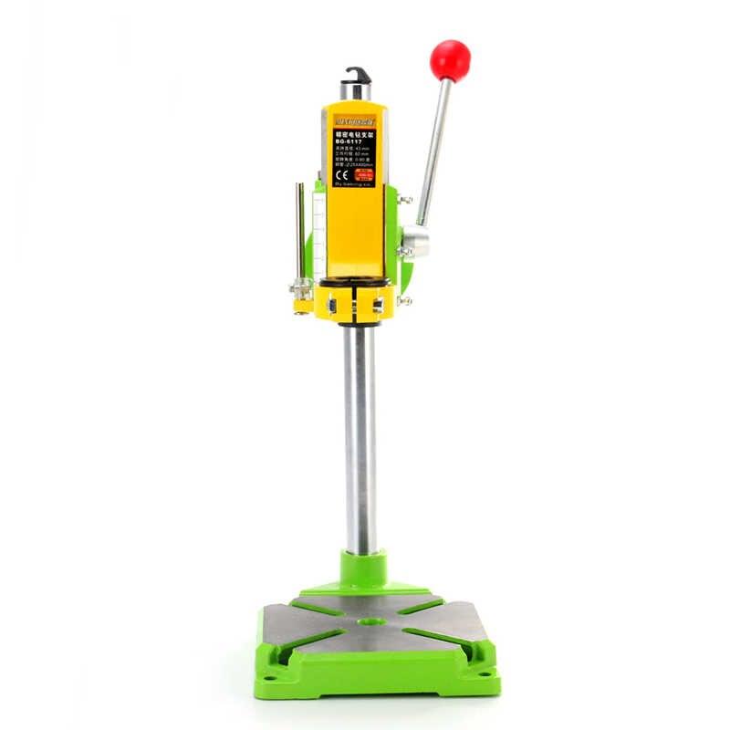 Simples electic power furadeira suporte de mesa 0-90 graus mini bancada braçadeira cnc ferramenta worktable perfuração suporte universal