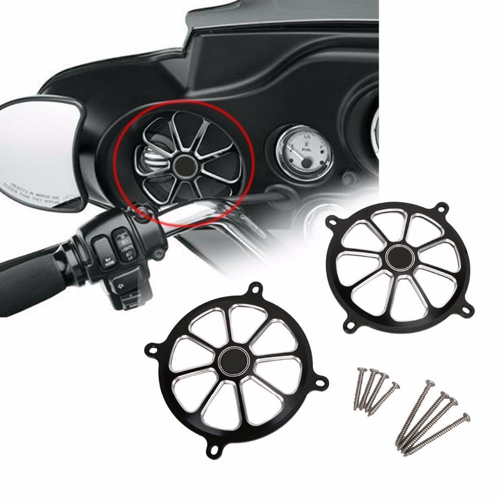 Черный Аудио ЧПУ Зализа Гора динамик Гриль Крышка для Harley гастроли скользить Мотодельтаплан FLHT FLHX 1996-2013 с/5