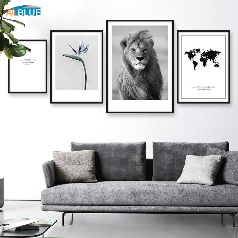 World Map Canvas Lion Poster Animal Print Wall Art Painting Decorative Picture For Living Room Black And White Modern Home Decor