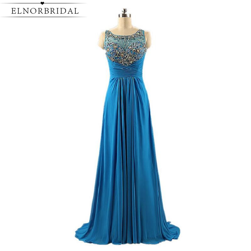 Vestido De Festa Sheer Beading Crystal Prom Dresses Long 2017 Illusion Back Evening Gowns Formal Celebrity Party Dress