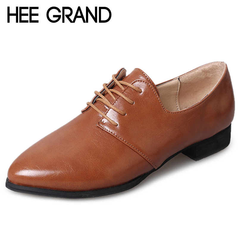 HEE GRAND Brogue Shoes Woman Lace-up Platform Oxfords British Style Creepers Office Lady Flats 4 Colors Plus Size 35-43 XWD6385 hee grand lace up gladiator sandals 2017 summer platform flats shoes woman casual creepers fashion beach women shoes xwz4085