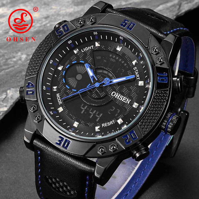 Men's Watches OHSEN Brand Fashion Wristwatches Luxury Leather Strap Watch LED Digital Waterproof Sports Watch Relogio Masculino