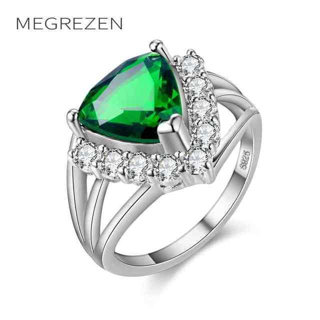 Megrezen Vintage Wedding Ring Silver Plated Costume Jewelery With Green Stone Rings For S Bagues