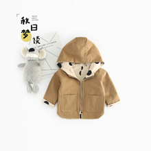 2018 Autumn New Arrival cotton pure color dot pattern casual Two faces weared Hoodies for cute sweet baby Boys And Girls