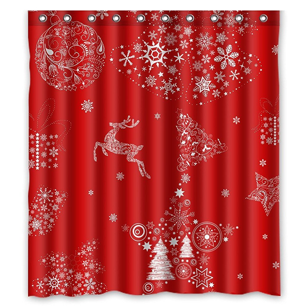 Red shower curtain - Memory Home Xmas Merry Christmas Reindeer Red Shower Curtain 66 X 72 Waterproof Polyester