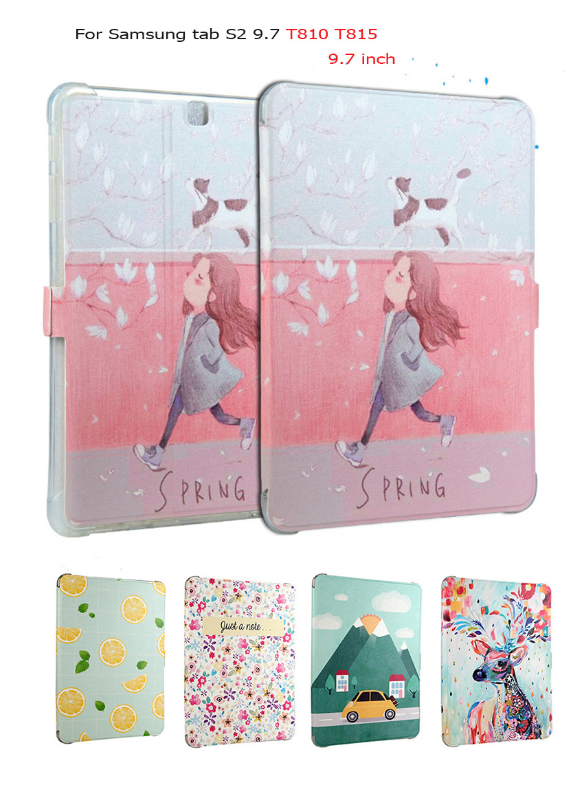 Colorful Painted Flip pu Leather Cases For Samsung Galaxy Tab S2 9.7 T815 T810 9.7 inch Smart Children's cartoon Case Cover A for samsung galaxy tab s2 9 7inch sm t810 t815 flip pu leather cases cover for samsung tab s2 9 7 case t810 tablet s4d33d