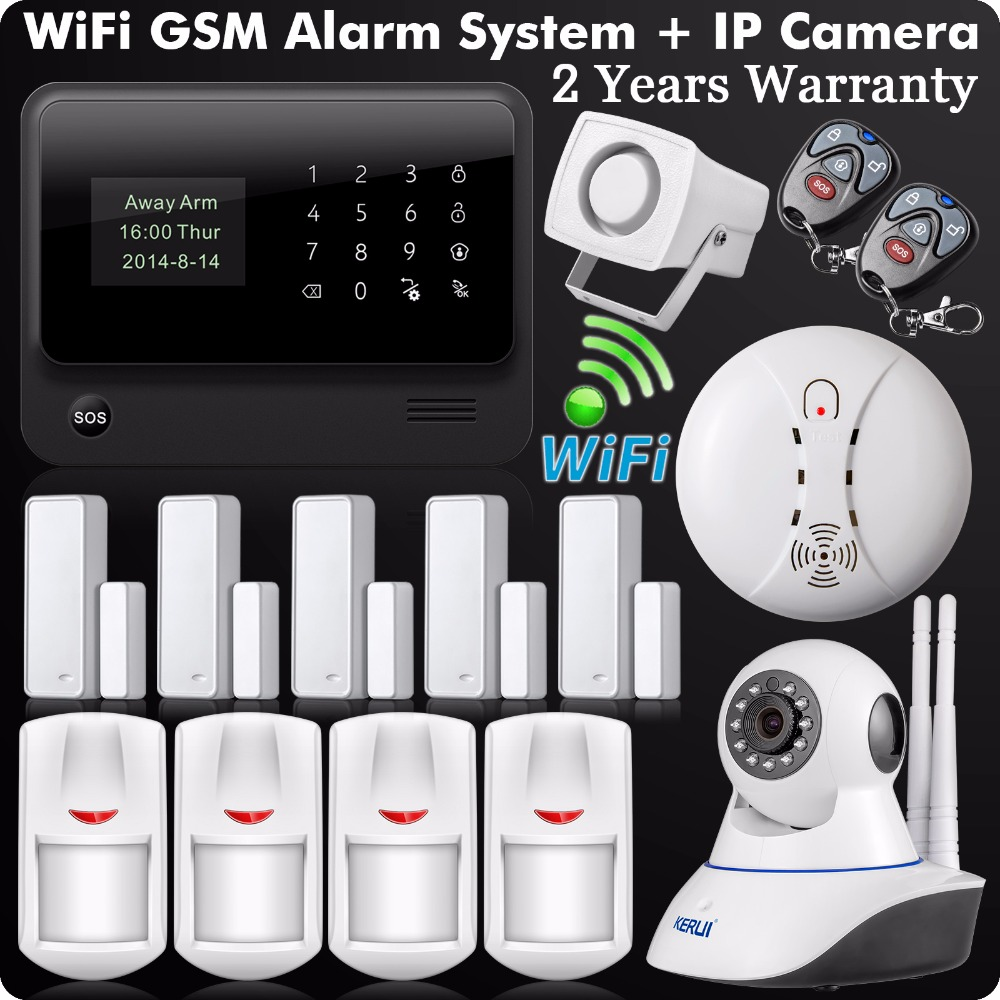 G90B Plus 2.4G WiFi GSM GPRS SMS Anti-Intrusion Sans Fil À Domicile Système D'alarme de sécurité HD 720 P Wifi IP Caméra Sans Fil Fumée détecteur