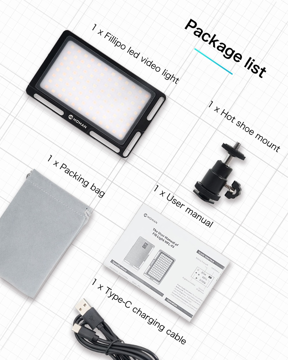 Image 5 - Moman Mini 4.5 Inch On Camera LED Video Light with Magnetic Back Bi Color 3000K 6500K CRI96+ Filming Lighting-in Photographic Lighting from Consumer Electronics