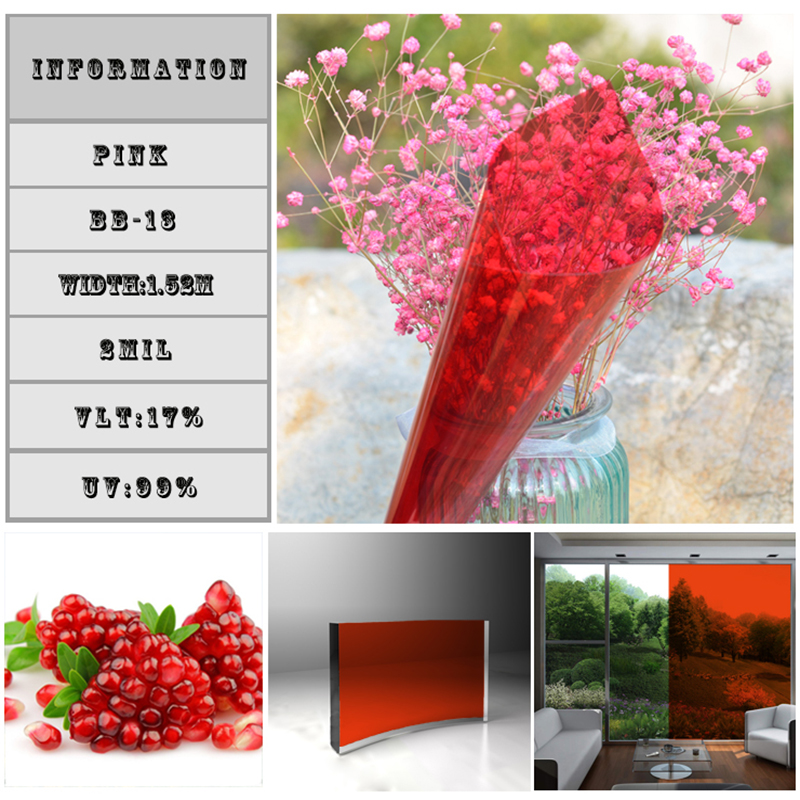 17% Pink Solar Foil Architectural Window sticker 1.52*10m roll Self-Adhesive window tint