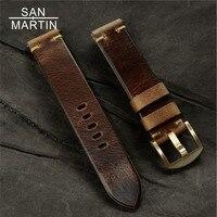 سان مارتن Vintag جلد طبيعي Watchbands 20-20 ملليمتر الأزرق الداكن البني النساء الرجال جلد البقر حزام (استيك) ساعة حزام حزام مع البرونزية مشبك