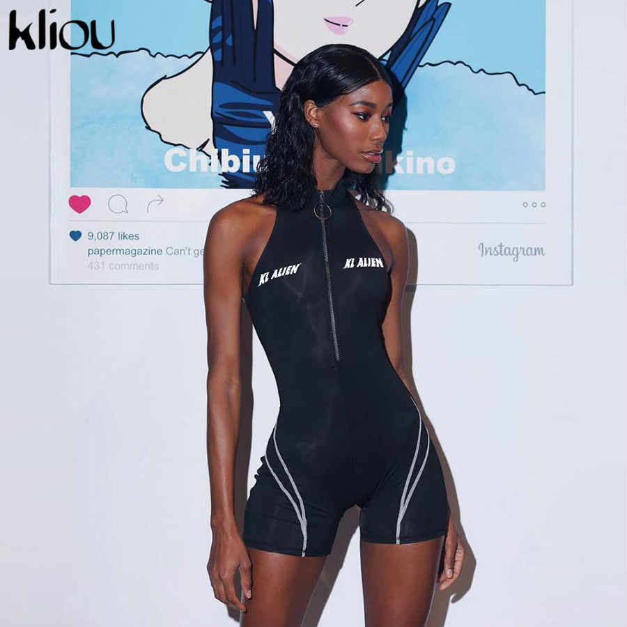 Kliou 2019 women fitness Playsuits sleeveless turtleneck zipper fly letter print patchwork bodysuit sporting skinny outfits