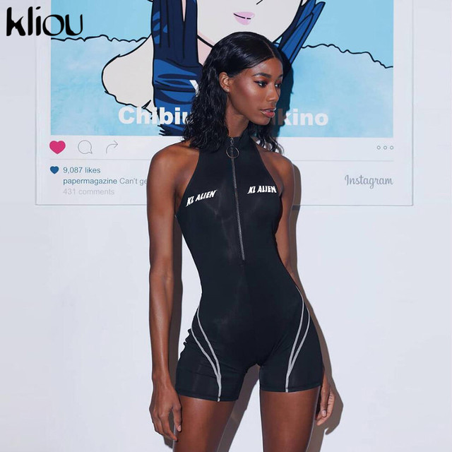Kliou 2019 женские спортивные костюмы для фитнеса, без рукавов, водолазка на молнии, с буквенным принтом, лоскутное боди, спортивные облегающие костюмы
