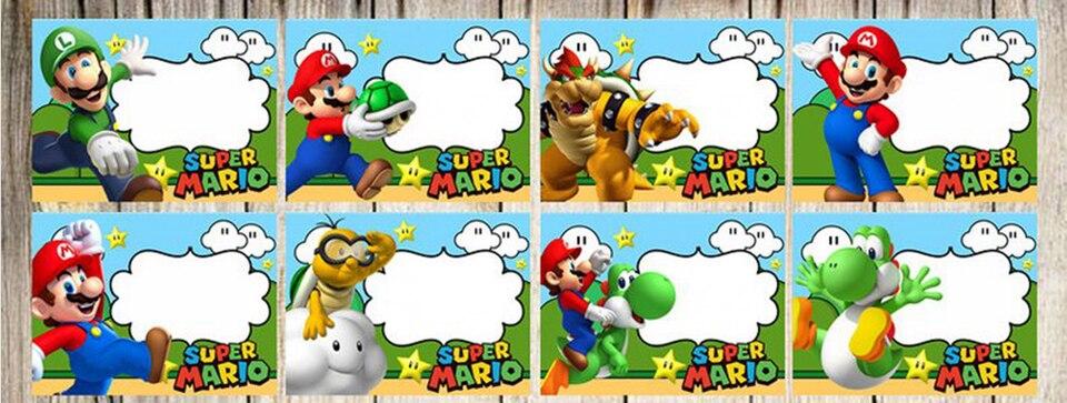 6pcs Super Mario Bros Invitation Card
