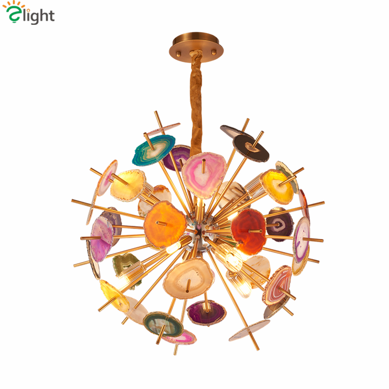 Post Modern Colorful Agate Led G9 Pendant Light Metal Globe Pendant Lamp Lustre Indoor Lighting Fixtures Luxury Art Deco Lampara