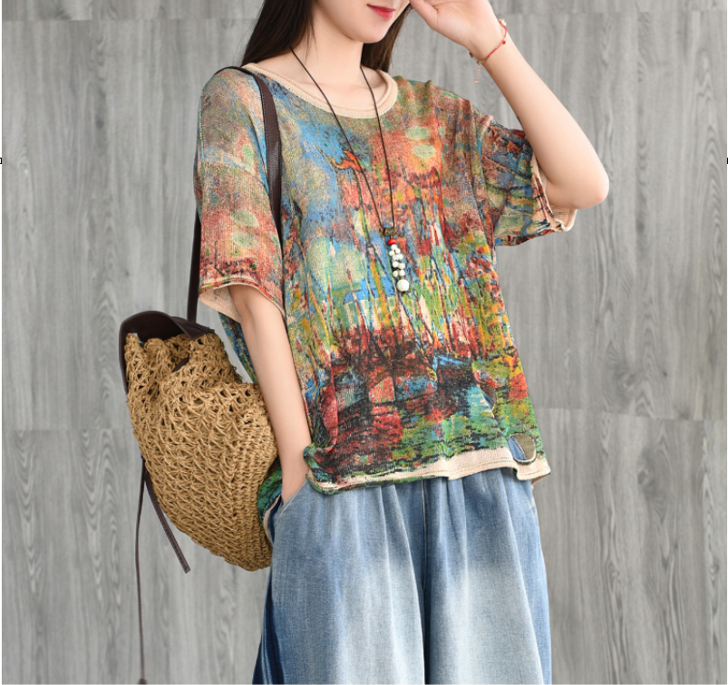Summer T shirt Women Retro Loose Print Pullovers Knitting Tops New Ladies Casual O Neck Short