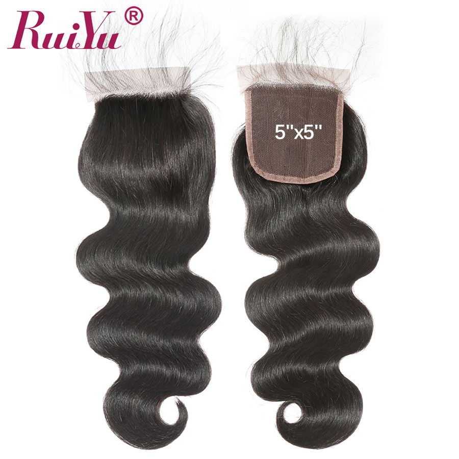 5x5 Lace Closure Body Wave Brazilian Hair Human Hair Closure Piece Bleached Knots Closure With Baby Hair Free Part RUIYU Remy