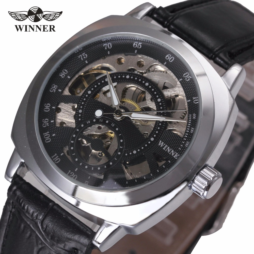 WINNER Men Fashion Black Auto Mechanical Watch Leather Strap Skeleton Dial Square Shape Round Case Unique Design Cool Wristwatch vintage cool black hollow case with roman number dial skeleton steampunk mechanical pocket watch with chain to men women