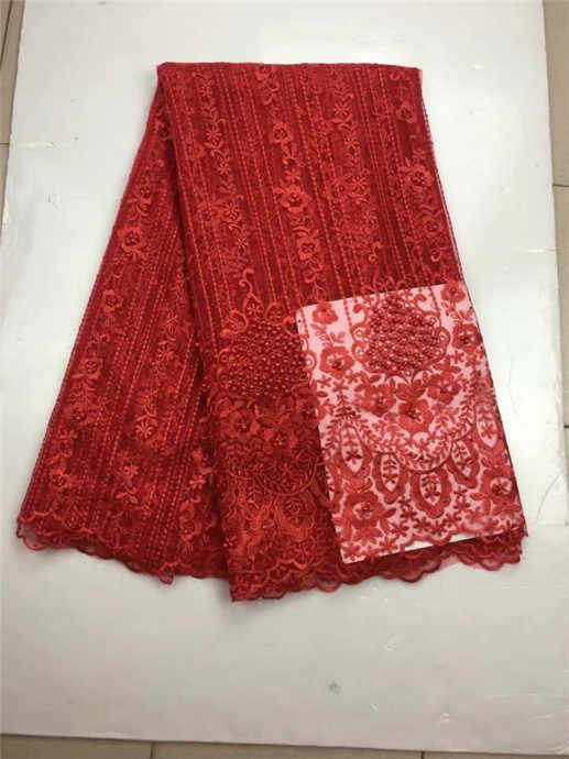 Простой золотой большой тяжелый Свадебное кружево Африканский французский чистая швейная ткань с большим количеством бисера высокого качества красный розовый