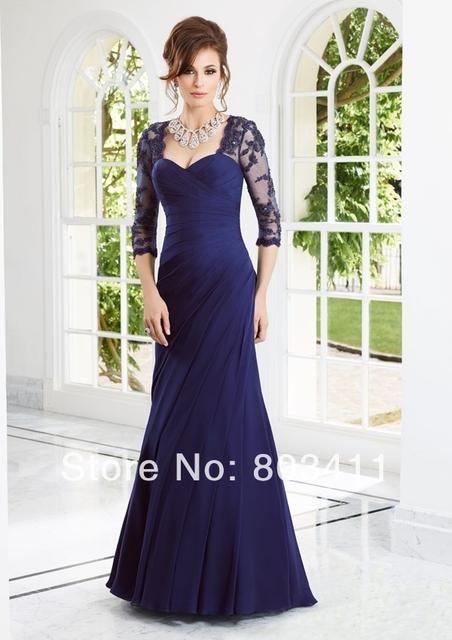 Freeshipping Estilo 70906 de Três Quartos Mangas Lace Chiffon Azul Marinho Mãe dos Vestidos de Noiva