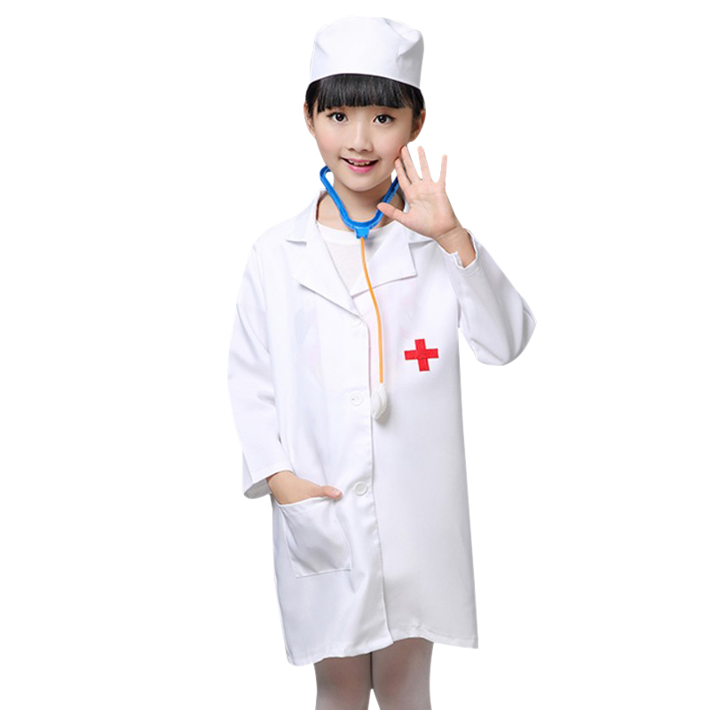 children halloween cosplay costume kids doctor costume nurse uniform girls boys game clothing wear clothing for party with hat - Kids Doctor Halloween Costume