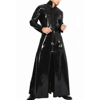 Male Gothic Wetlook PVC Faux Latex Reloaded Sexy Fantasy Halloween Costum Men Novelty Trench Leather Catsuit Dress ( Only Coat )
