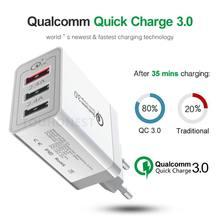 Carregador rápido usb 30 w qc 3.0, 9v 2a, para celulares iphone 7, 8, ue, eua, reino unido carregador de carregamento rápido para samsung, xiaomi, huawei