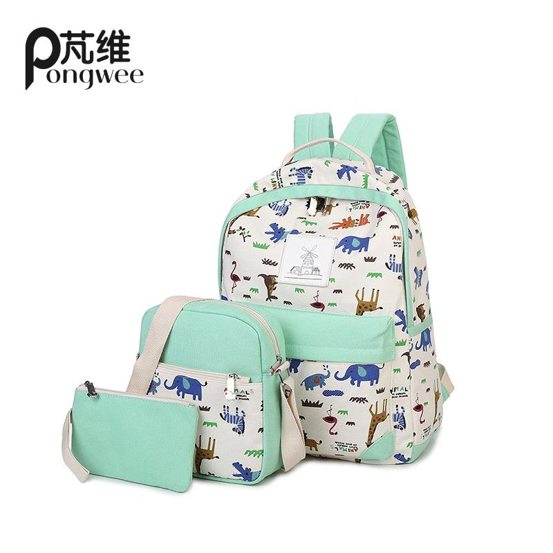 PONGWEE 3pcs Children Bag Animal Printing School Shoulder Bags Girls Set Backpacks Purse Casual Kids Backpack Schoolbag