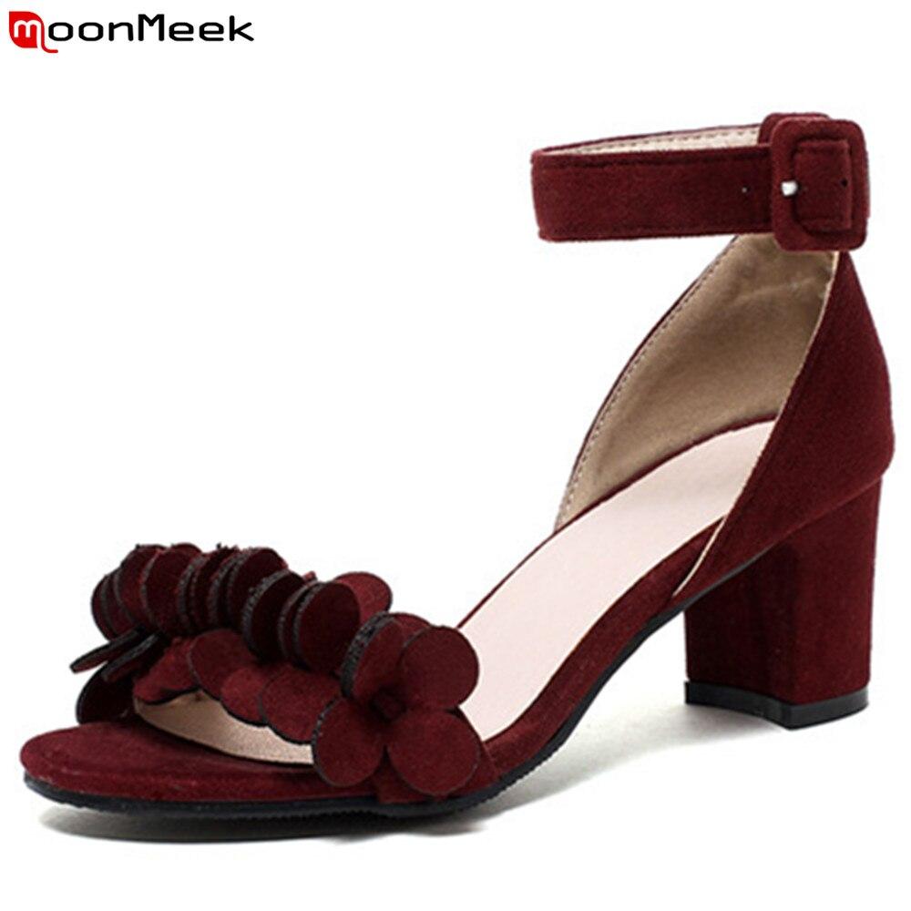 d21bec95069300 MoonMeek schwarz weinrot mode schuhe frau schnalle elegante dicke heels  damen high heel sandalen einfache big size 33 43 in MoonMeek schwarz  weinrot mode ...