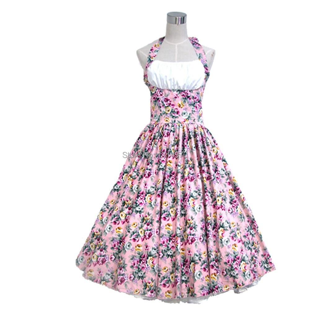 Kadın Yaz Salıncak 50 s 60 s Vintage Retro Elbise Robe Rockabilly - Bayan Giyimi - Fotoğraf 2