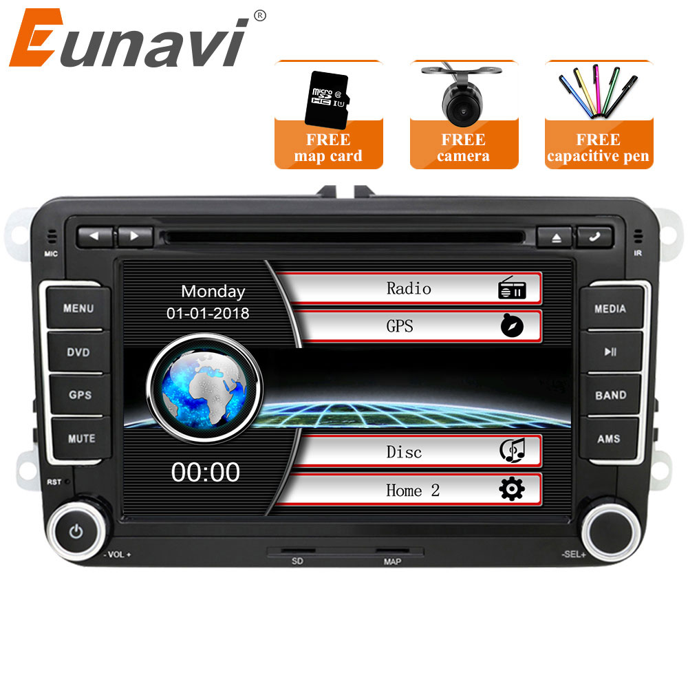 Eunavi 2 Din 7 ''Auto DVD Player Radio GPS Navi Für VW Golf Polo Jetta Touran Mk5 Mk6 Passat b6 2din Stereo tablet pc in dash usb