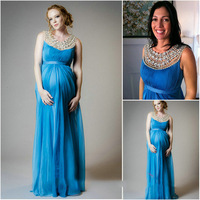 Crystal Beaded Empire Maternity Evening Formal gown for Pregnant Woman 2018 Prom vestido femininos mother of the bride dresses