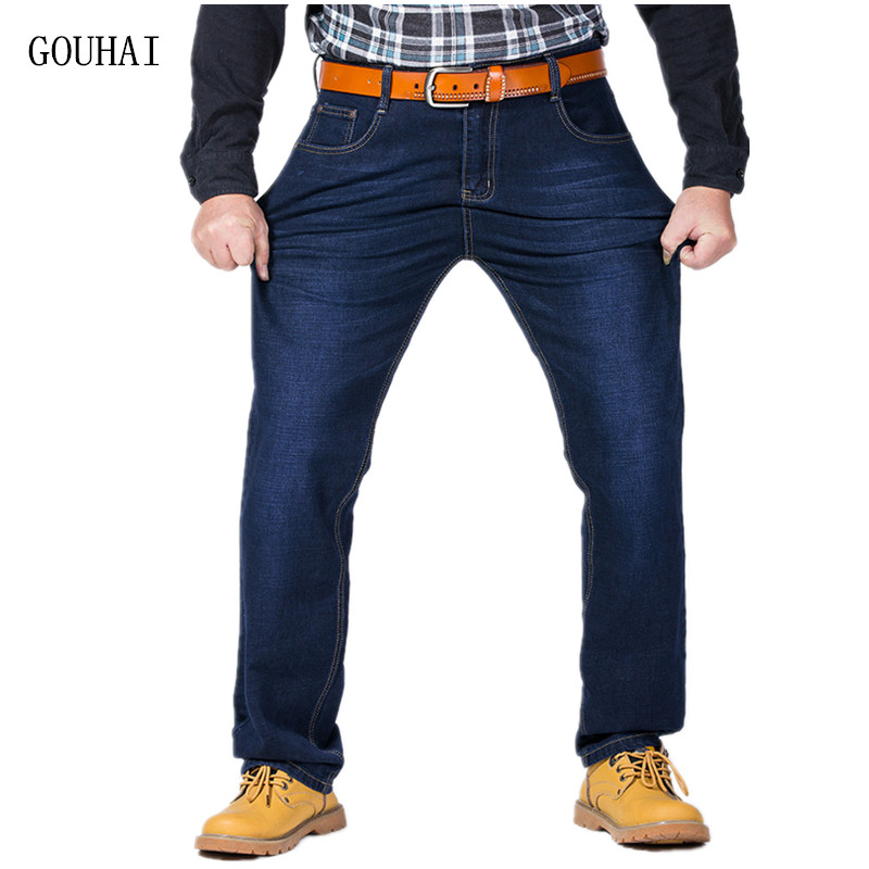 Plus Size 32-52 Denim Trouser Men Jeans High Stretch Casual Jeans Mens Denim Jean Relax Business Work Trousers Loose Pants Man afs jeep autumn jeans mens straight denim trousers loose plus size 42 cowboy jeans male man clothing men casual botton