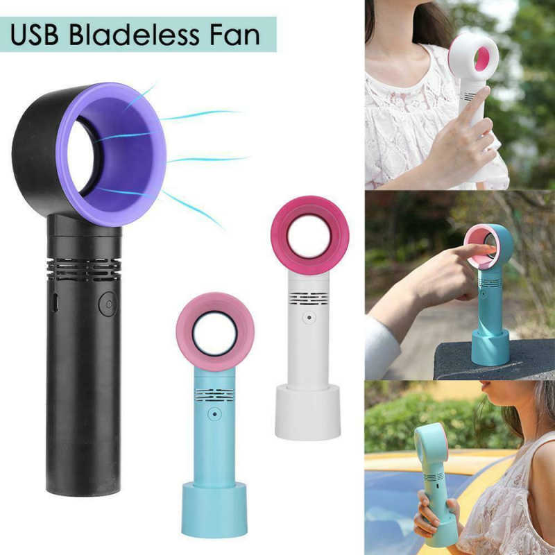 Portable Mini USB Leaves Tower Fan Newest fanless Ultra-quiet Qtrong Wind Safety Fan Wind Speed Adjustable Office Essential