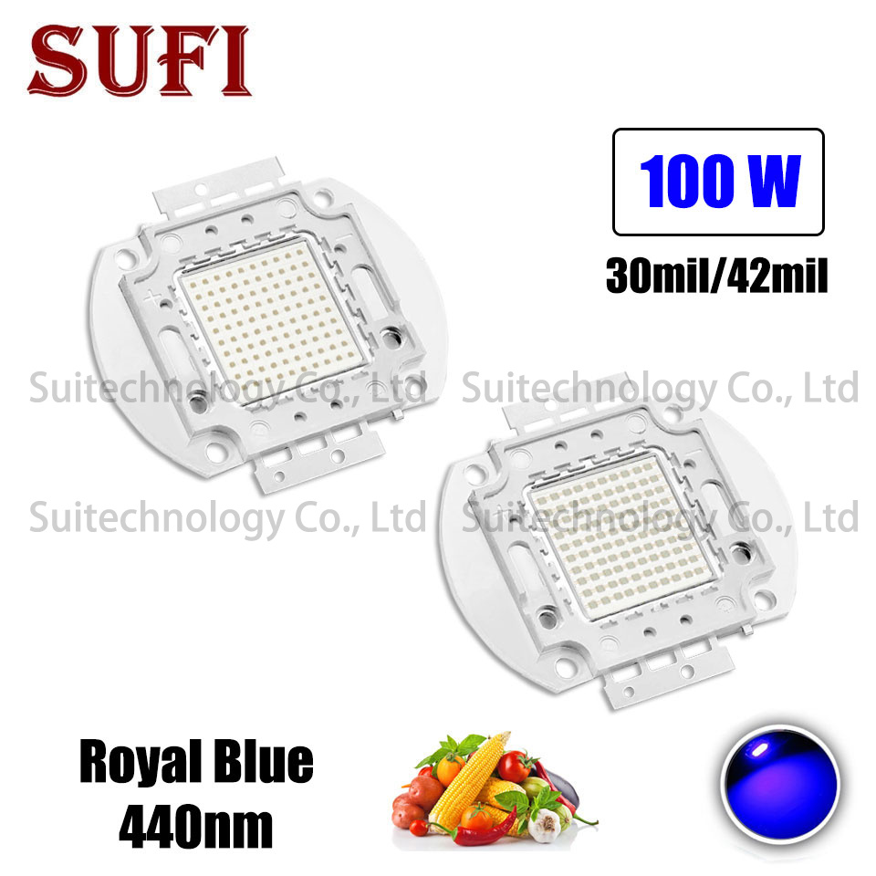 100W High Power LED Lamp Beads Plant Grow Light Bulb Royal Blue 440nm LED Chip LED  Lighting Source For Plant Vegetable Grow